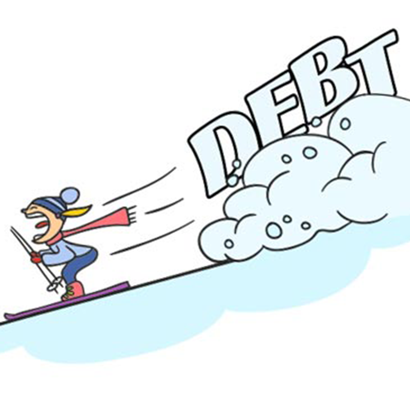 cartoon skier with avalanche and words debt
